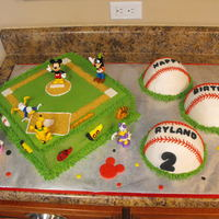 Ryland's 2Nd Birthday Cake This was my grandson's 2nd birthday cake. He loves Mickey Mouse and baseball so we decided to comine the two. When he saw the...