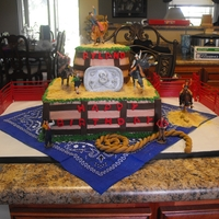 Bull Riding Birthday Cake I made this cake for my grandson's 3rd birthday. He loves pro bull riding. Buttercream icing with fondant decorations. Bull riders and...