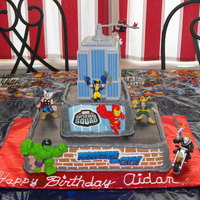 Super Hero Squad Birthday Cake I made this cake for my husband's second cousin that turned 4. He loves the Super Heroes so I made him this cake. It's a...