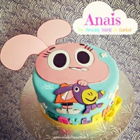 "The Amazing World Of Caylan!! Made this cake for Caylan's 2nd birthday last Friday. It is the character Anais from the cartoon ""The Amazing World of Gumball&..."