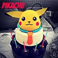 Pikachu  Made this Pokemon Pikachu cake & cupcakes for Joaquin's 6th birthday {December 2012}. It was challenging making this in the heat...