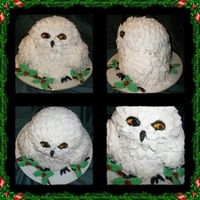 Christmas Snow Owl This cute owl sits on a holly branch. It has over 200 individual fondant feathers, all hand made. Eyes, feet and beak all hand painted...