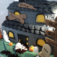 This Is A Scary House Cake I Made For My Sons 11Th Birthdayall Decorations Are Handmade With Gum Pastetop Tier Was Carrot Cake With Cream This is a Scary house cake i made for my son's 11th Birthday.All decorations are handmade with gum paste.Top tier was carrot cake with...