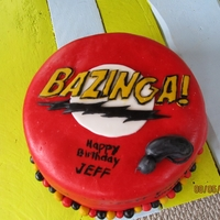 "Big Bang Theory ""bazinga"" Cake My husband loves the show. Cake is carrot cake with cream cheese frosting and covered in MMF. Around the cake I wrote the Soft Kitty song..."