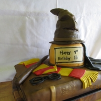 Harry Potter Cake I made this for my nephew who is a big fan of Harry Potter. The sorting hat and wand are rkt, the book and base of hat is chocolate cake...