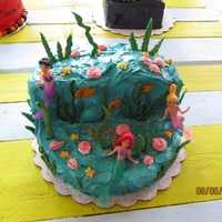 Mermaid Cake Chocolate cake with buttercream frosting. Sea weeds are made of candy melts.