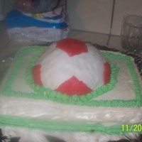Soccer Cake This is the first cake i have done with any fondant. Soccer ball is made of RKT. My husband isnt fond of fondant, so i primarily use bc,...