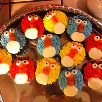 Angry Birds! used leaf tip for feathers, Mini marshmallows for eyes, large MM for bottom, and orange slices for beaks