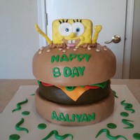 Sponge Bob This cake was fun to make it is all fondant except for Sponge Bob himself. He is made of rice crispy treats.