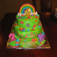 My Little Pony This cake is a my little pony. Ponies came from walmart and the rainbow is made from gum paste and the rest is fondant.