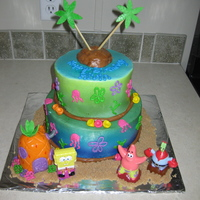 Spongebob With this cake I airbrushed it to make it look like the backdrop on a spongebob show I then made a pineapple house and island out of rice...