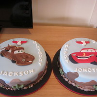 "Mater & Lightening Mcqueen These are for 2 young brothers. The cakes are 11"" butter cakes covered in buttercream, then fondant. Everything is edible and made..."
