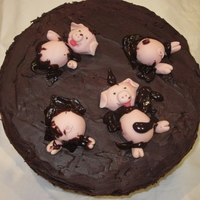 "Pigs In Mud Birthday Cake This is another cake from my 4 year old Grandson for the family this evening. It is an 8"" round chocolate mud cake with chocolate..."