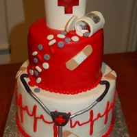 Nurse Cake  Chocolate cake qith layers of home made raspberries jam and chocolate buttercream. Covered in fondant. All decorations are fondant or...