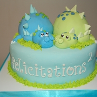 Two Baby Dinosaurs For Twins!  I made this cake base on a desing my client gave me. I don't know to whom give the credit. The moher is pregnant with two non...