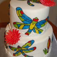 Stained Glass Dragonfly Cake  A cake for a lady that collect dragonfly objects. She will be 70 tomorrow. A wanted to try the stained glass efffect since a long time, so...