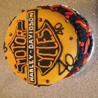 Harley Davidson   40th Birthday Cake .. White cake with butter cream and fondant