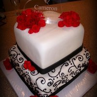Black Red   Very Elegant cutting cake