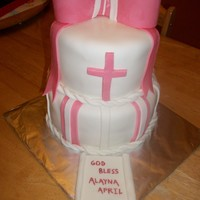 Baptism Cake Butter Pecan (WASC style) Covered in buttercream and MMF. Bow is gumpaste/MMF mix. I loved that this cake turned out exactly as I had...