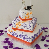 Clemson Tigers Theme Clemson Tigers square wedding cake.