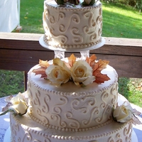 Fall Wedding Round tiers with ivory frosting.