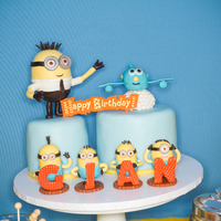 Minions & Airplanes My Sons birthday cake,he keep change his mind so i decided to mix 2 thing that he loves into 1 theme :)Thank you for looking :D