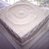 Antique Plate Cake With String Work  I used one of my grandmother's antique plates to make the impression in the center. The rest is mmf and royal icing string work (just...