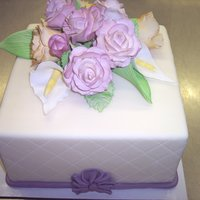 Quilted Square Cake With Gum Paste Flowers