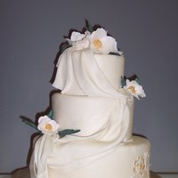 "White Draped Wedding Cake With Magnolias  Covered in Massa nuetral fondant, magnolia ""fantasy flowers"" made from gum past and painted with gold luster and vanilla. Small..."