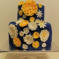 Navy Blue And Mustard Yellow This cake is based off of a cake the client found online. I'm not sure of the original designer.