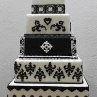 Black And White Wedding 5 Tier black and white dummy cake.