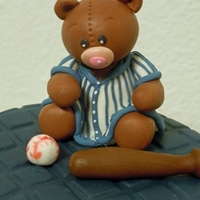 Baseball Bear Gumpaste bear for Yankees themed baby shower mini cake and cupcakes.