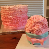 Pink Ombré Ruffle Cake And Smashcake   Ombre ruffle cake with smash cake