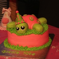 Turtle Cake   Round and turtle are cake, head and limbs are Rice Krispie treats, all fondant covered!
