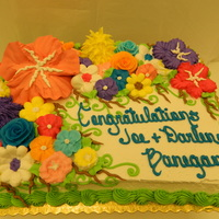 Flower Garden This is a half sheet cake decorated with buttercream icing