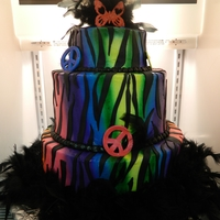 Wild And Colorful   3 tier stacked cake. covered in buttercream icing. black fondant zebra stripes attached
