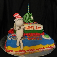 Cat In The Hat Green Eggs And Ham buttercream decorated cake with a fondant cat in the hat
