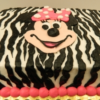 Zebra Striped Mini Mouse 1/4th sheet cake decorated with buttercream icing