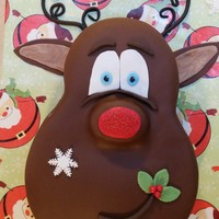 "Reindeer Cake Chocolate Fudge cake, 9/6"" with French Vanilla Buttercream and Chocolate Fondant. All accents are fondant. Was very easy to make &amp..."