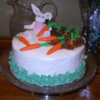 Bunny In A Carrot Garden Easter cake for our family dinner. My first successful SMBC attempt and it was delicious! Bunny and carrots made from MMF and 'dirt&#...