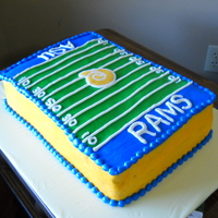 Asu Football Field Cake  Football field cake with Albany State University colors. Cake is two layers of chocolate with buttercream frosting and decorations. Logo is...