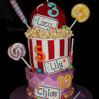 "Carnival Cake This Is A Joint Birthday Cake For 3 Sisters Very Fun To Do And The Girls Loved All The Lollies You Can Find Me On Face ""CARNIVAL CAKE"" This is a joint birthday cake for 3 sisters. Very fun to do and the girls loved all the lollies :) You can find..."
