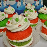 Layered Cupcakes Layered Christmas Cupcakes - Peppermint Cake, Marshmallow and BC filling and BC topping.