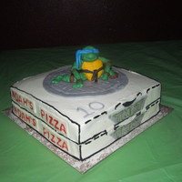 Turtle Power!   10 x 10 cakes covered in BC with MMF turtle, sewer lid and accents for my son.