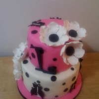 Girly, Girl Birthday Cake Polka dots and butterflies