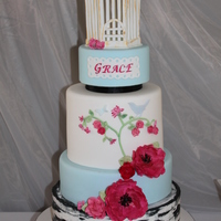 Birdcages,birds And Roses! Birdcages,birds and rose themed Baptism. Inspired by a cake I saw on CC with my own twist. The middle layer was inspired by fabric that I...
