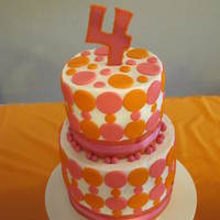 Orange And Pink Birthday Cake Made this for my daughters 4th birthday! Fun cake to make :)