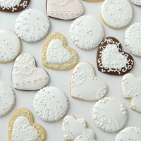 Wedding Cookies Lace Collection  Lovingly made for a very sweet and dear couple. Hand-piped royal icing lace patterns. https://www.facebook.com/pages/Deemaz-cupcakes-etc/...