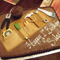 Tool Bag Cake   Chocolate cake and icing, gumpaste and fondant details
