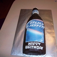 Bud Light Birthday Cake   Chocolate frosting with edible image
